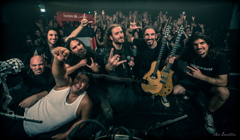 Orphaned Land and Khalas at the London stop on their European tour (Abed far left, Kobi third from right). Photo: Ami Bornstein