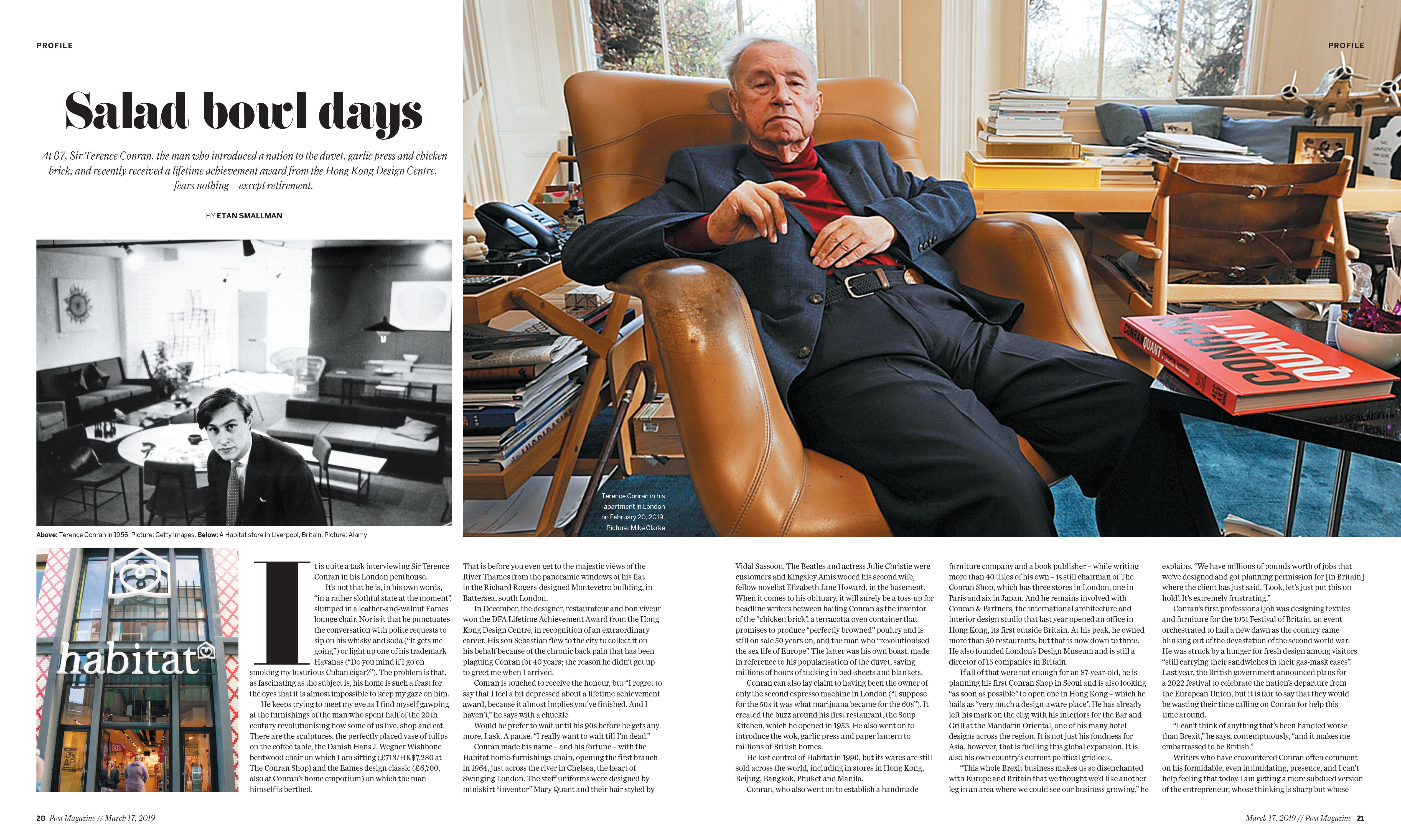 Salad Bowl Days Interview With Sir Terence Conran Published In